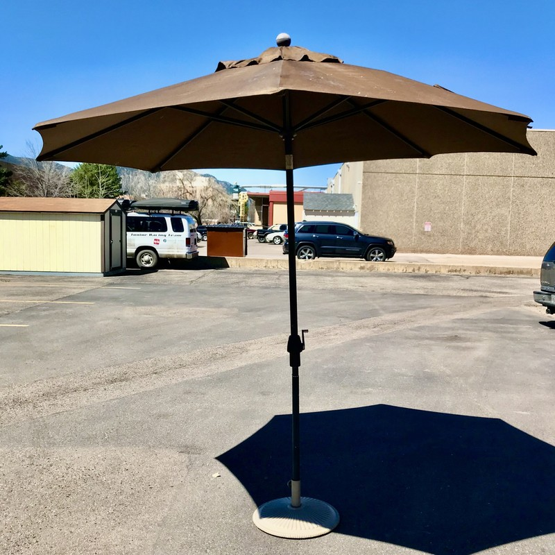 Umbrella & Stand Outdoor, Brown, Size: 9' D<br /> Matching Umbrella & Stand - #82064   $139.00
