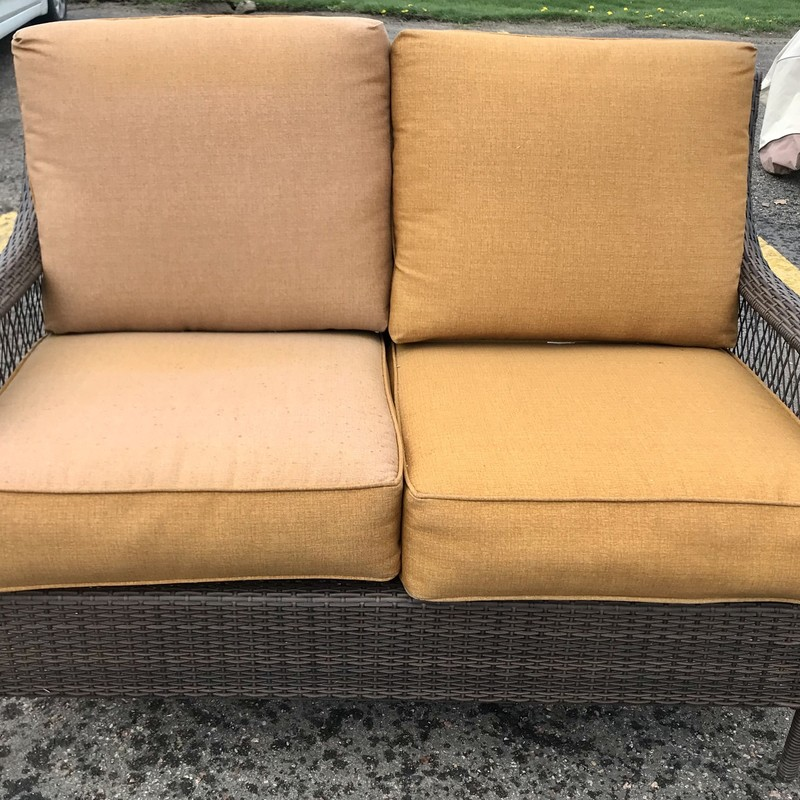Loveseat Cushions Outdoor, Brown, Size: 52x33x36