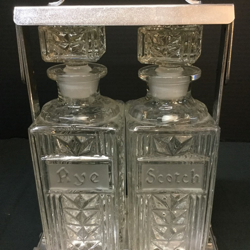 Pair of decanters in holder. Rye and scotch. Beautiful condition!