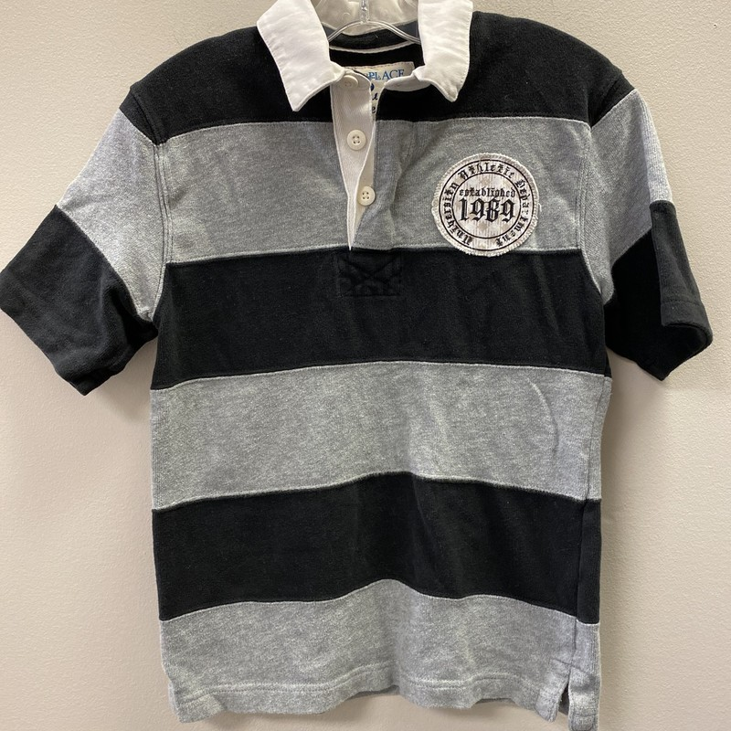 ChPlace SS Polo, Stripe, Size: 7/8 - B