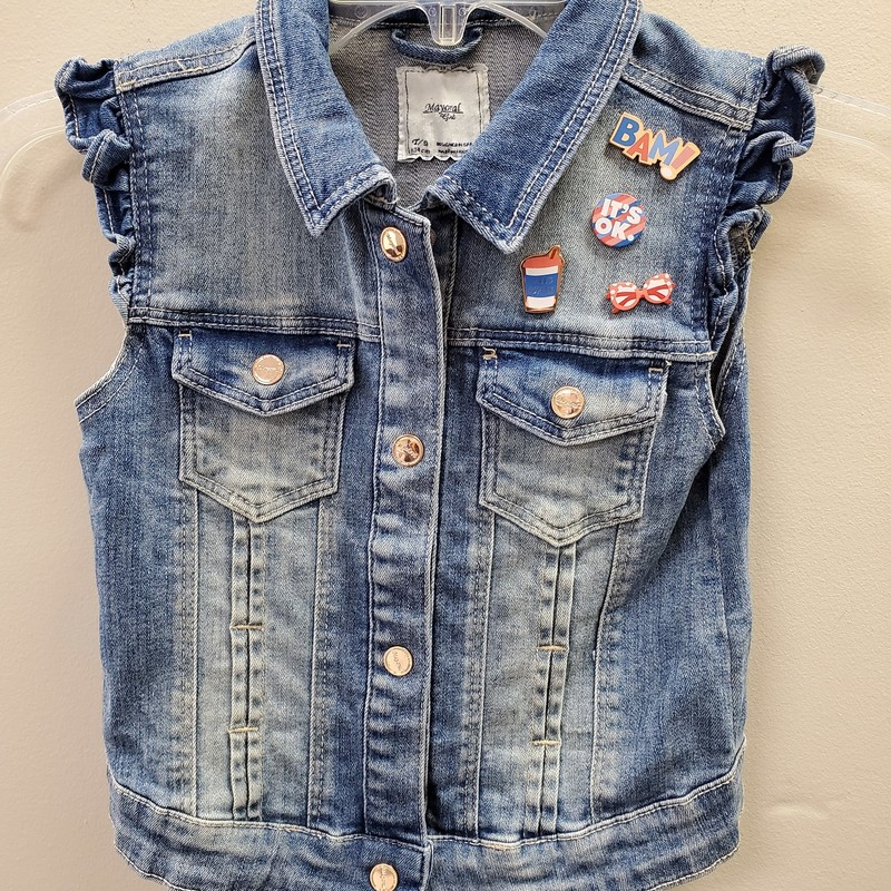 Mayoral Vest, Denim, Size: 8 - G
