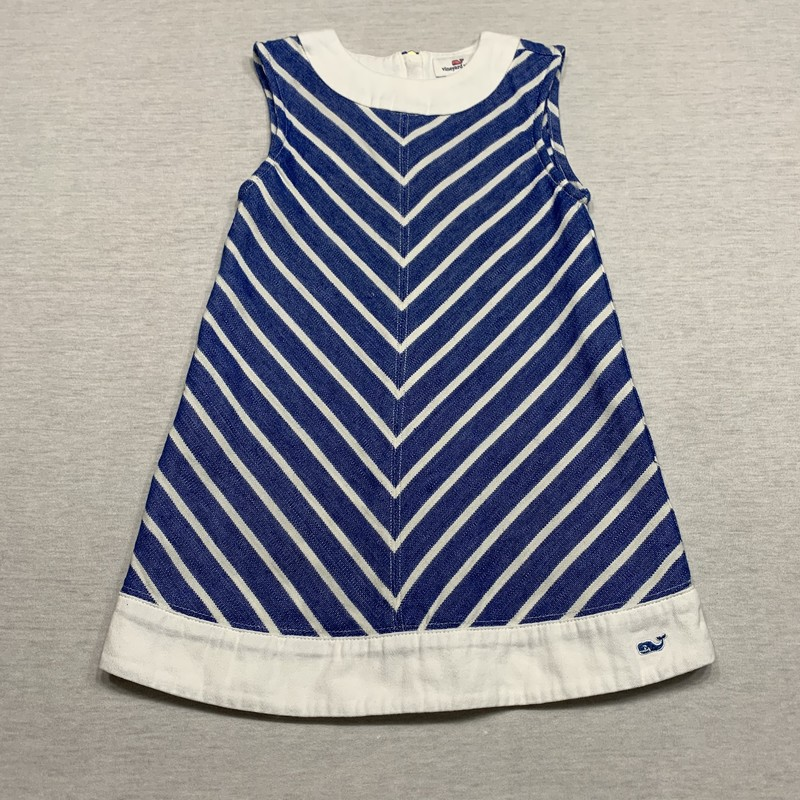 Striped shift with embroidered logo at the hem