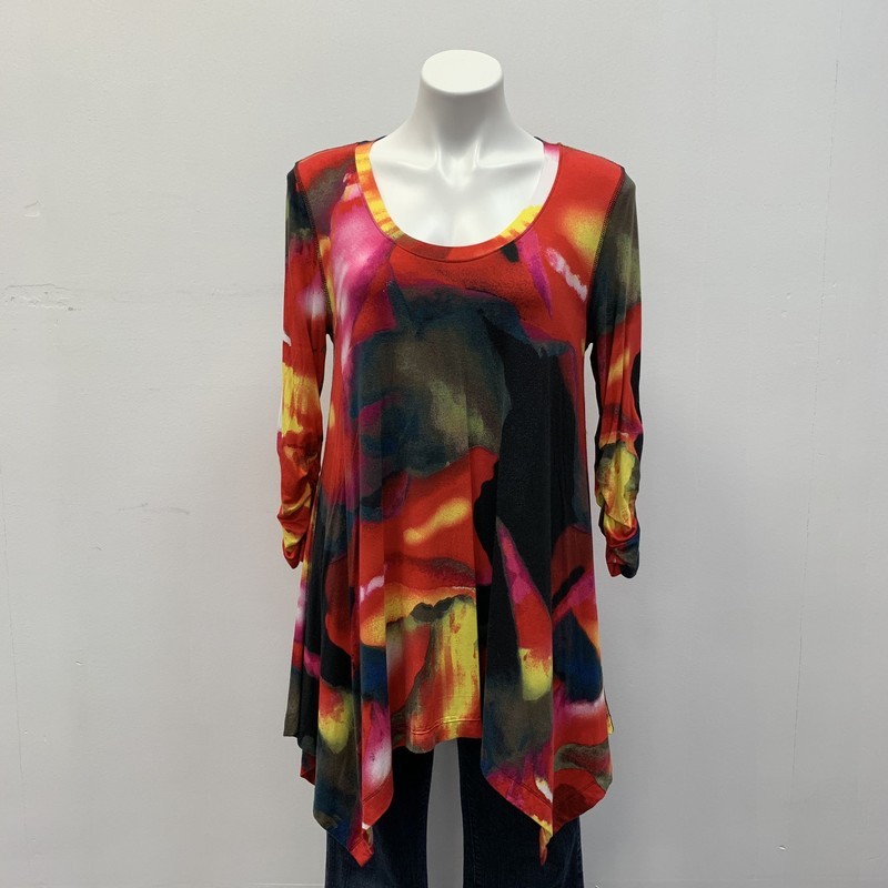 Philosophy Tunic, Green/Red, Size: L<br /> <br /> Rayon/Spandex<br /> <br /> Nice bright geo print tunic with scoop neckline and rauch sleeve.  Pairs great with your favorite leggings.