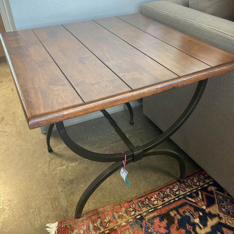"End Table Panel Top, Iron Base, Wood and Iron, Size: 27""X24""X24"""