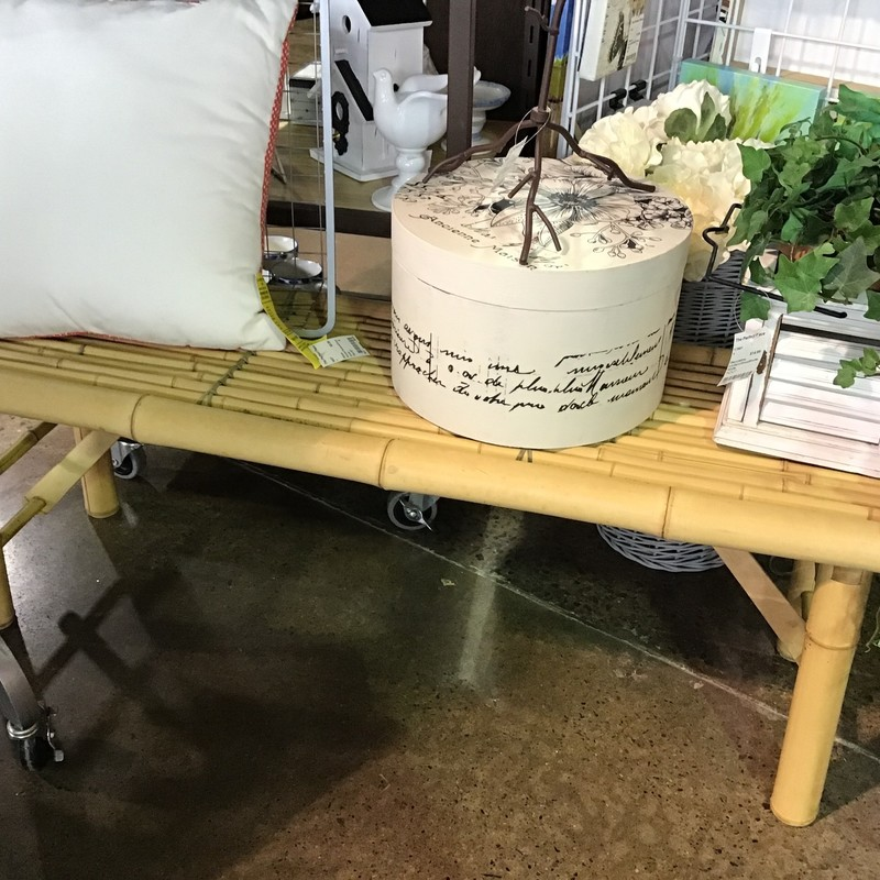 "This bamboo bench is light weight and has folding legs for storage. Perfect for your sunroom, patio or covered porch!<br /> Dimensions are 47"" x 14"" x 16"""