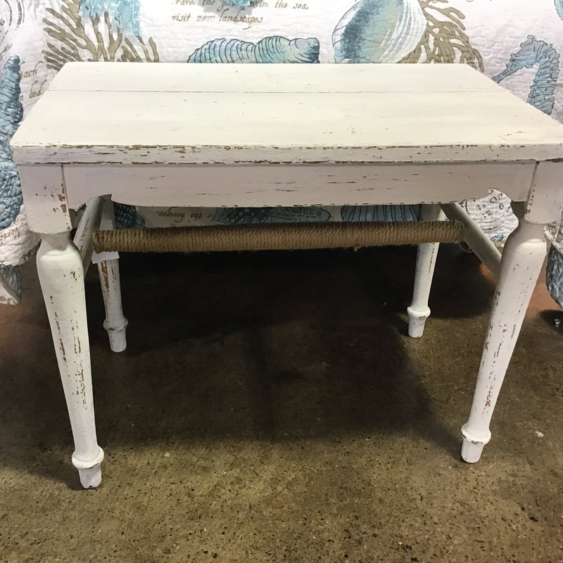 "This rustic white bench is perfect for a mudroom, end of a bed or a porch/patio. It was painted white and distressed and rope was added to the cross bar on the bottom for interest.<br /> Dimensions are 22"" x 14"" x 18"""