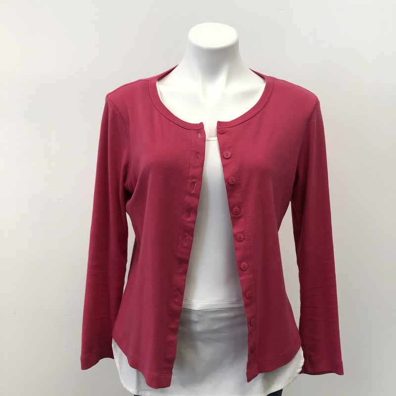 2 A Tee Cardigan, Pink, Size: MPT<br /> <br /> Simple dark pink cardigan with pink buttons. 100% Cotton.