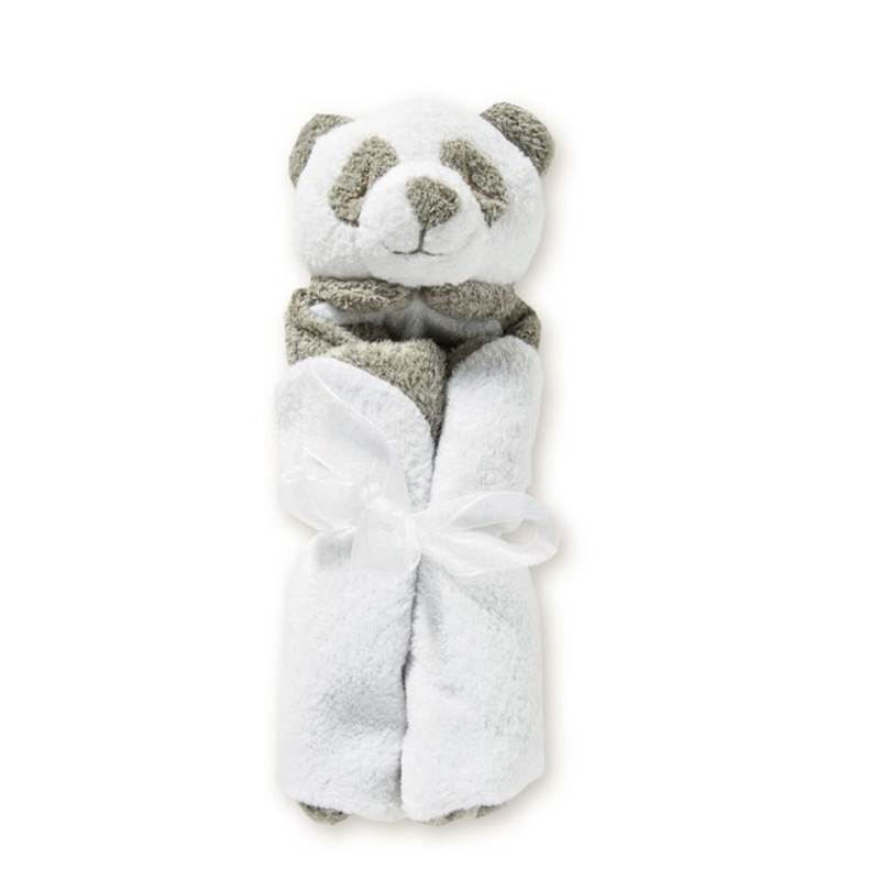 "Grey Panda Bear Lovie Blanket<br /> <br /> - Measures 13""x 13""<br /> - Soft and snuggly<br /> - 100% Polyester microfiber<br /> <br /> Machine washable"