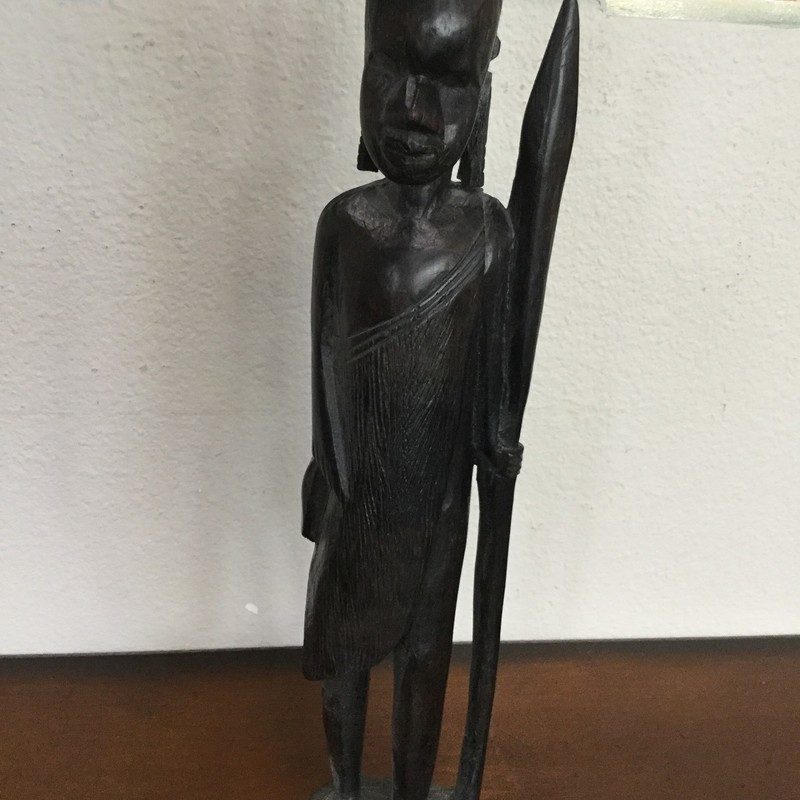Ebony Sculpture with Speer, Black, Size: 14""
