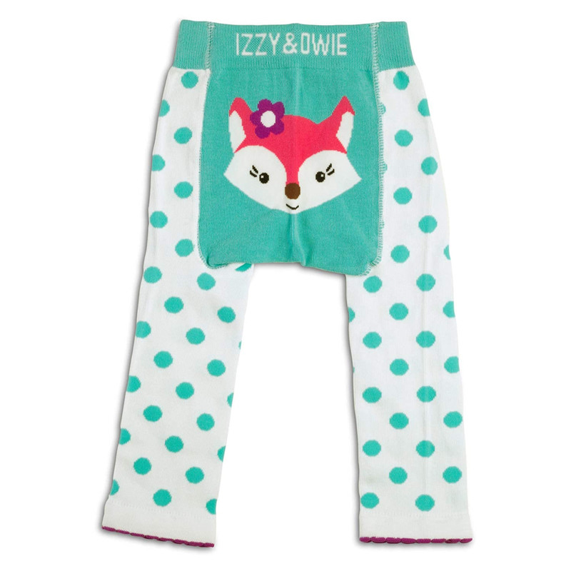 "Izzy & Owie aqua polka dot fox leggings<br /> <br /> -  Cotton, nylon, and spandex blend<br /> <br /> Machine washing, choose a gentle cycle with cold water. Always wash with similar colors. Laying the product flat to dry is recommended. Do not bleach. Do not iron.<br /> <br /> Please choose size in the ""select size"" drop down category."