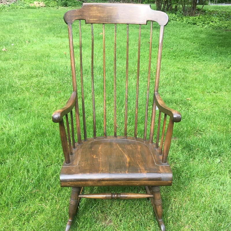 60 Year Old Rocker, Wood. Really nice shape AND comfy! Pad included.<br /> <br /> Choose PICK UP IN STORE at Checkout!<br /> Shipping NOT AVAILABLE for this item!<br /> NOTE: 7% PA sales tax included in price of this item