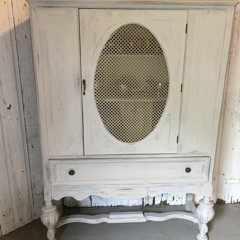 "Cottage Revivals: Rescued, Revived or Repurposed!<br /> <br /> Revived china hutch painted with Fusion Mineral Paint in Cathedral Taupe and lightly distressed to reveal the base coat painted in Algonquin. Original push button handle release and hardware! At 67"" tall x 43"" wide x 15"" deep, there's plenty of space to hold your treasures."