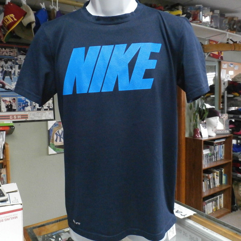 "Nike Men's Athletic Cut Dri Fit Short Sleeve Shirt Blue Size Small #19034<br /> Rating:   (see below) 3- Good Condition<br /> Team: N/A<br /> Player:  N/A<br /> Brand: Nike<br /> Size : Small - Men's ( Chest: 18"" ; Length: 25.5"") (measured: armpit to armpit & top of shoulder to bottom hem)<br /> Color: Blue<br /> Style:  short sleeves; screen pressed<br /> Material:  100 Polyester<br /> Condition: 3 - Good Condition - no rips, tear,or stains; minor pilling and fuzz present; minor stretching, slight fading; snags around inside of collar; (see photos)<br /> Item #: 19034<br /> Shipping: FREE"