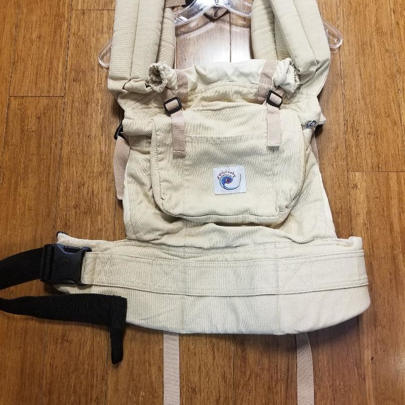 "Ergo Baby Original Carrier, Tan<br /> Mfgr states for 12 - 45lbs max<br /> Extra padded waistbelt & shoulder straps<br /> Fits multiple wearers from petite to larger body types (waistbelt adjusts 26-52"", shoulder straps 28 to 47"") Extra-large zippered pocket for all your essentials<br /> UPF 50+ baby hood for sun & wind protection<br /> More info can be found online<br /> Retail cost $115.00 & up<br /> STORE PICKUP ONLY, NO SHIPPING"