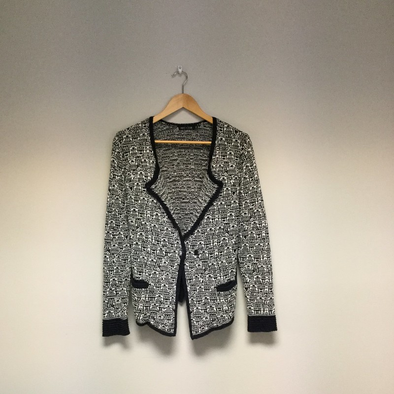 Nic &amp; Zoe Mix Weave Knit Cardigan<br /> Size M<br /> Black/White<br /> $24.00