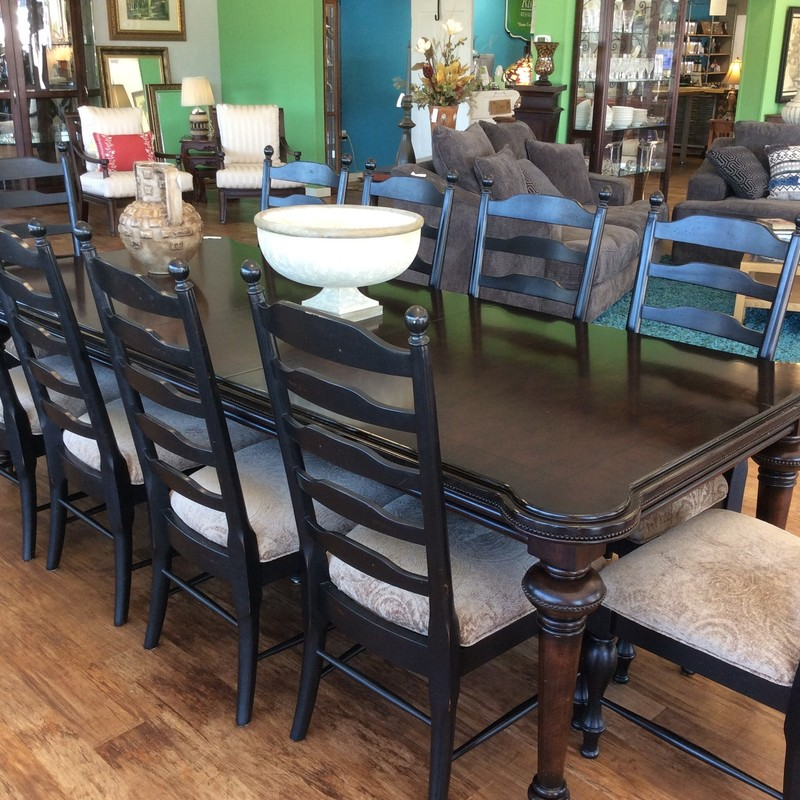 "WOW, this is a beautiful set!! It is all in fabulous condition, too. The table is 84"" without the leaves, and with the 2 leaves (20"" each) it measures over 10 feet long. Its on casters, too, so it is easy to move around. The 10 ladder back chairs have pretty upholstered seats in a taupe-on-taupe cut chenille. Spectacular!"