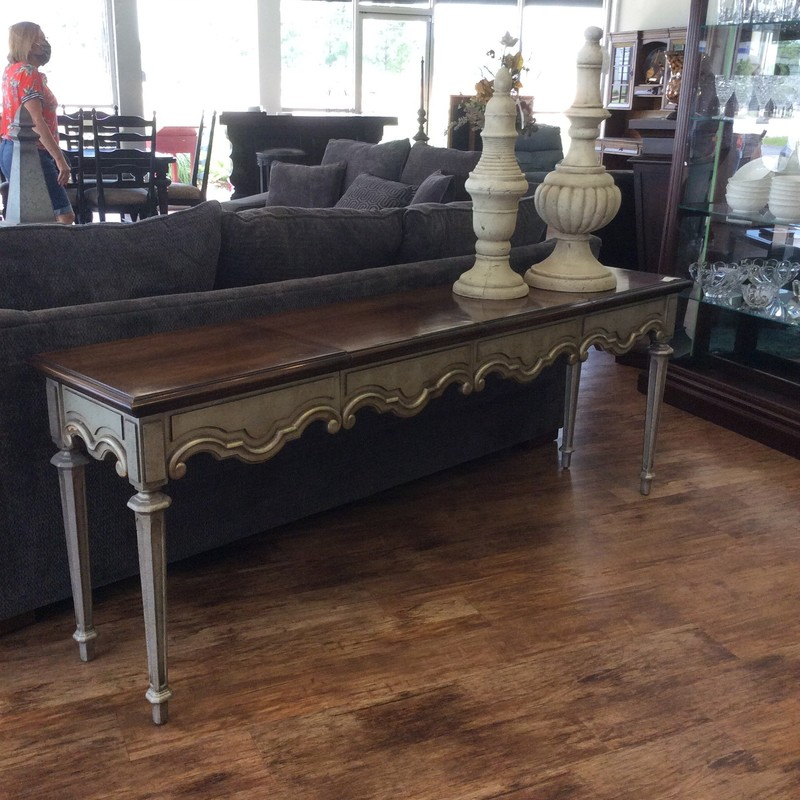 "This is a really cool little table! It is only 18 inches wide, and the length could be as short as 44"" or as long as 81"". The 2 leaves are 18.5"" each. The apron of the table and the leaves, and the legs, has a gorgeous antiqued pewter finish. It is all solid wood, and the top ahas a walnut finish."