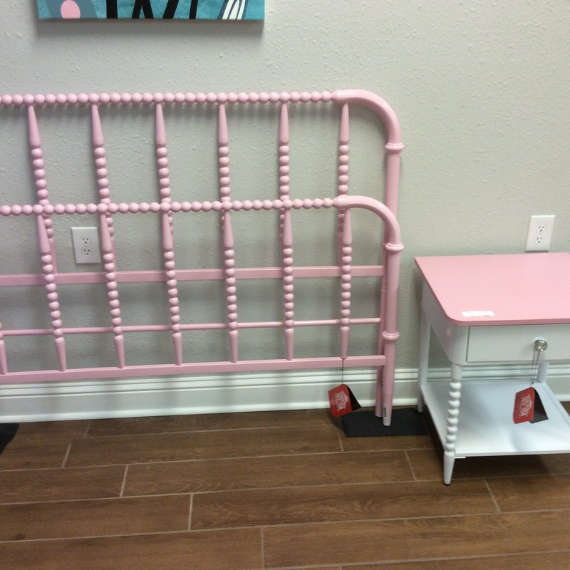 BARGAIN ALERT!!! This set is brand spanking new! A local furniture store closed it's doors, and these are the last of the pieces we received from there. The metal bed includes the rails and cross bars. The metal night stand has a formica top and a blingy drawer pull. Only $295 for the set!!