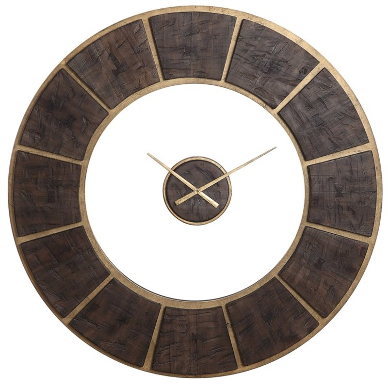 "40""W x 40\""H x 2\""D Uttermost Kerensa wall clock<br /> <br /> - Rustic, dark wooden blocks with butterfly inlay details - Gold leaf base with a matching center floating dial. - Quartz movement ensures accurate timekeeping. - Requires one \""AA\"" battery.<br /> <br /> This item cannot be shipped. Store pick up only"