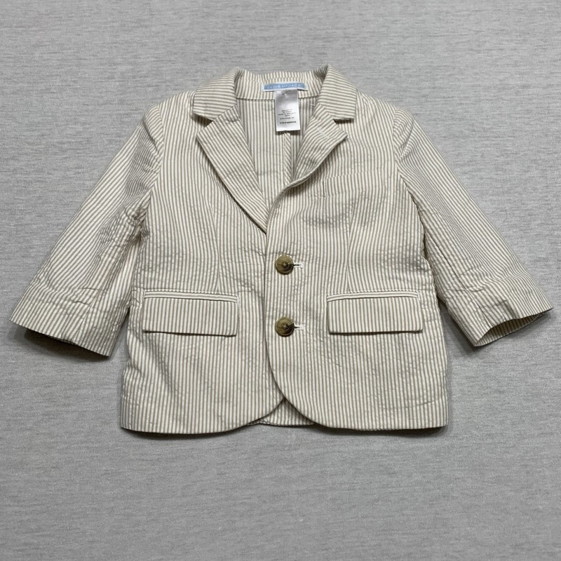 Striped seersucker blazer with functioning front pockets