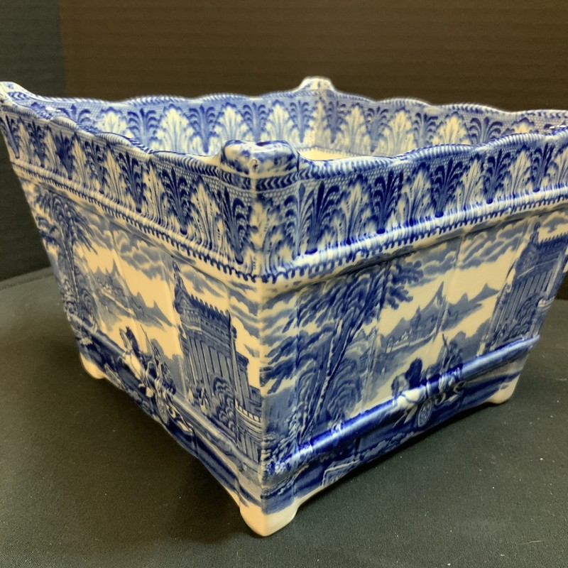 Flow blue square planter with Roman Chariot scene. Cauldron; England Factory stamped 1910