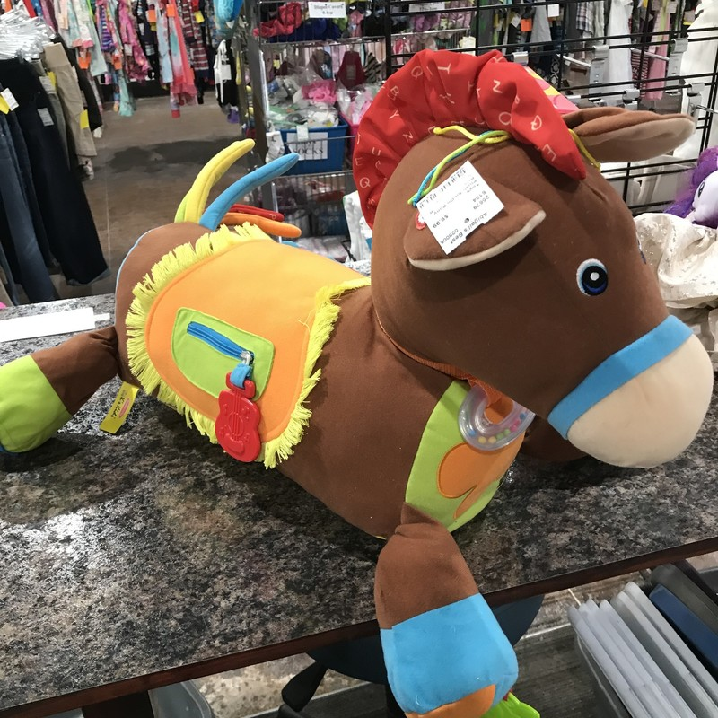 Plush Sit On Pony, Red, Size: Onesize