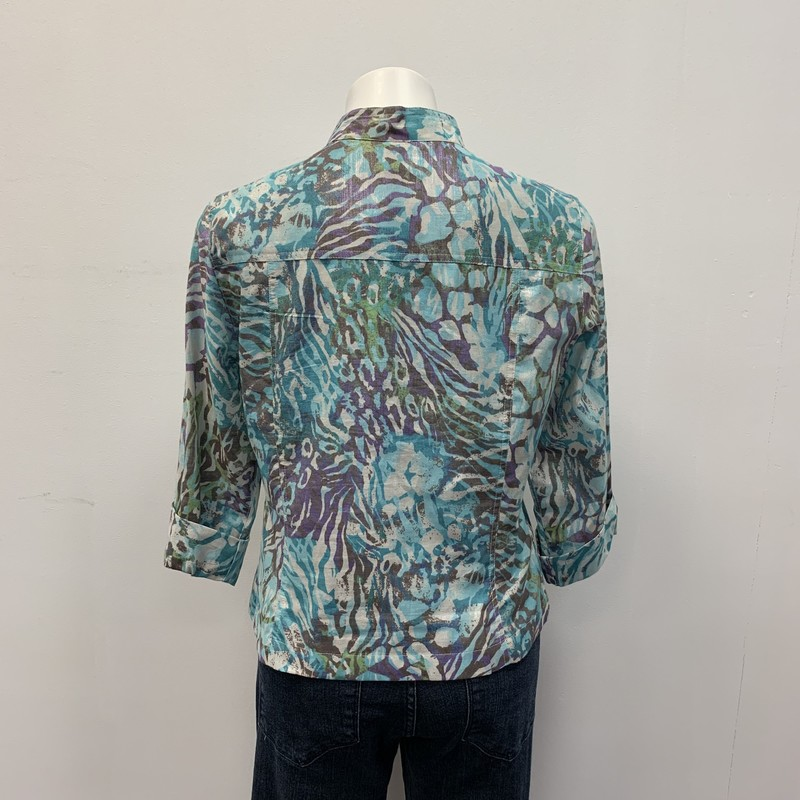 Ruby Rd BD Blouse, Purple/Blue, Size: 10<br /> <br /> Cotton/Polyester/Metallic<br /> <br /> You will love this button down in a lovely turquoise and purple with a metallic flare.  You can easily wear as a blouse or jacket.  Dress it up or down.  Nice addition to your waredrobe.