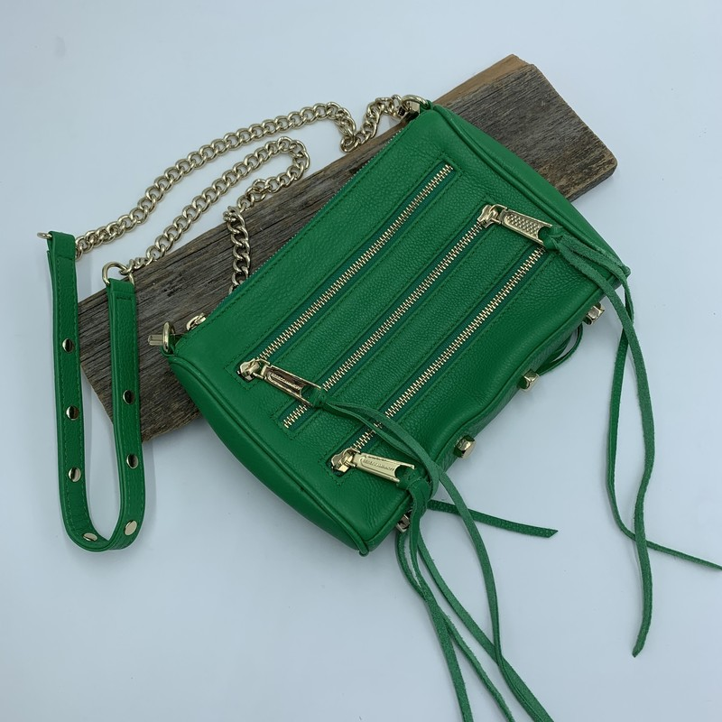 "Rebecca Minkoff Mini 5Zip, Green, Size: OS<br /> <br /> condition: EXCELLENT<br /> <br /> Shoulder Strap Drop: 20"" (detachable)<br /> Height: 7.25""<br /> Width: 9.5""<br /> Depth: 1.25"""