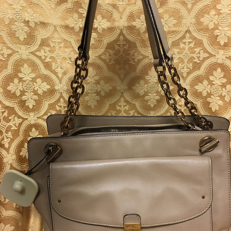 2 Leather Handle W/Chain Sachel, Camel/gold, Size: M/L.  This bag has front pocket with snap closure and a zip pocket on the back for phone storage without opening the bag.  Inside is very clean and multi pocket organizers.  Camel color goes with everything.