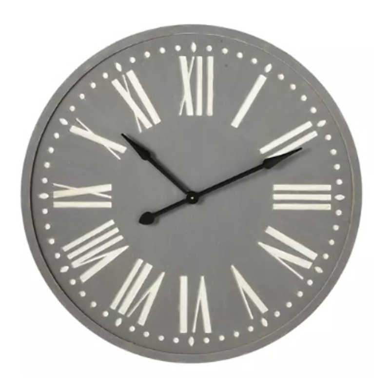 37in grey wall clock with white roman numerals.<br /> <br /> This item cannot be shipped. Store pick up only