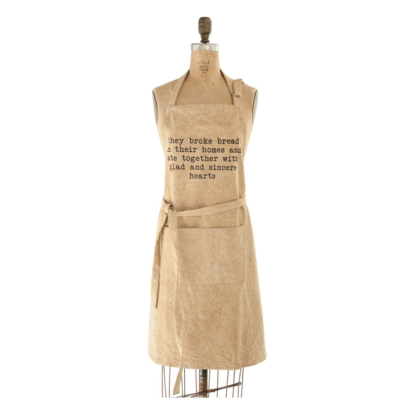 "32""L x 28""W Cotton Canvas Apron With Pocket & Saying<br /> ""They Broke Bread in their Homes and Ate Together With Glad and Sincere Hearts""."