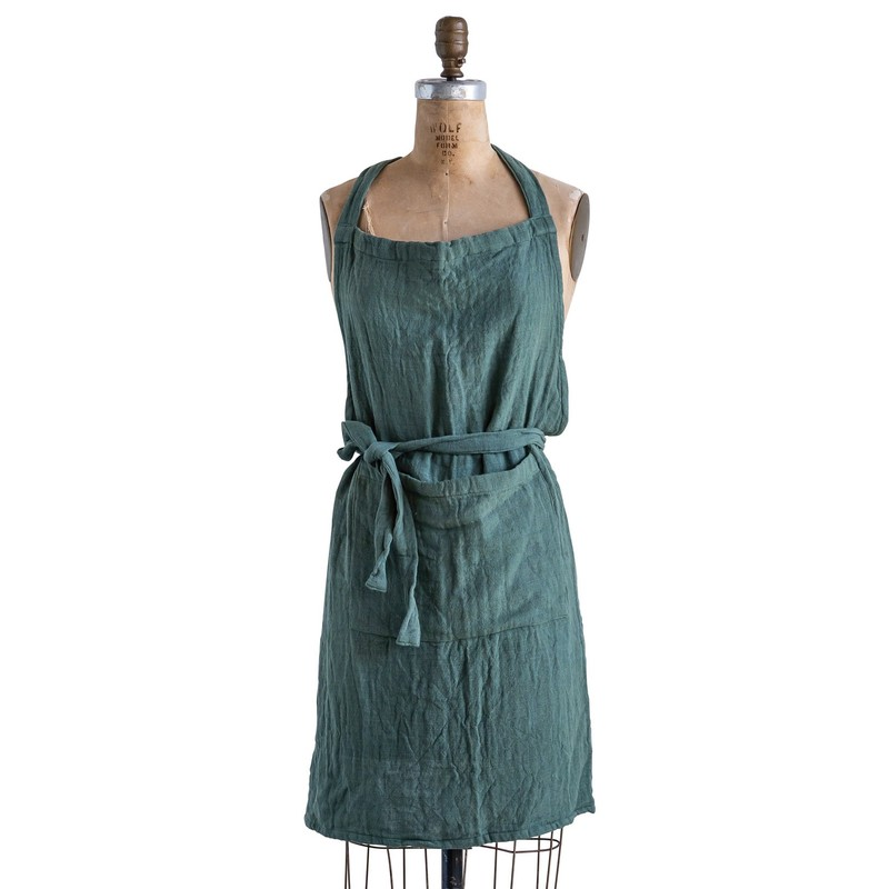 "32""Lx28""W Green Cotton Apron with Pocket"