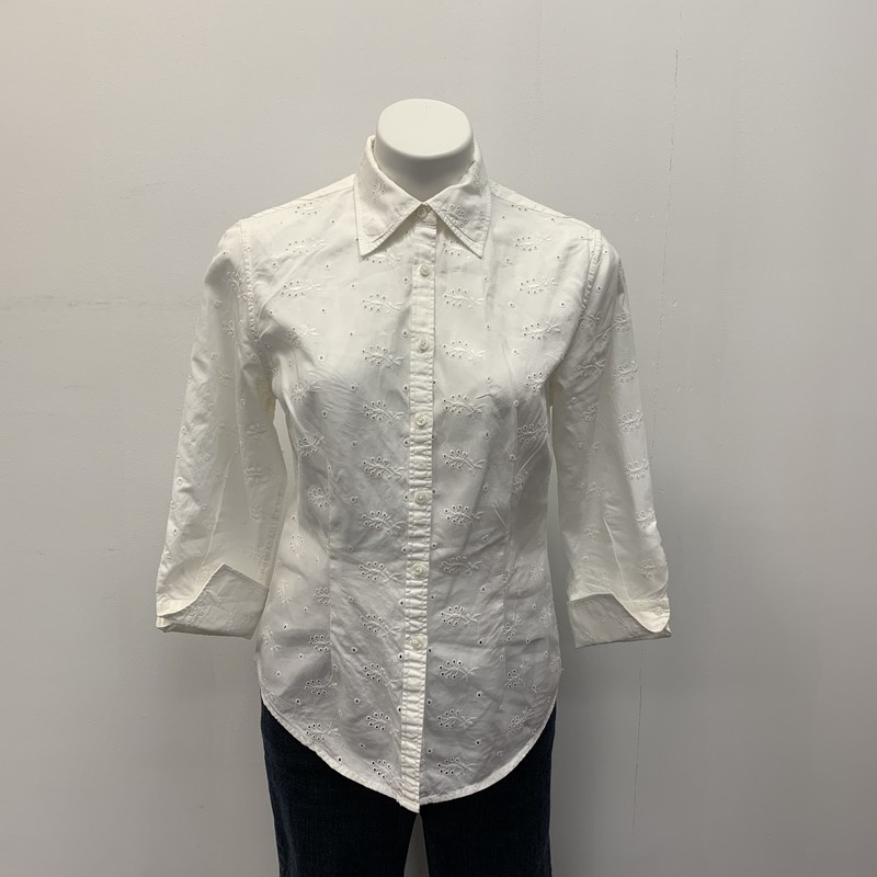 Brooks Bros BD Shirt, White, Size: 10<br /> <br /> 100% Cotton<br /> <br /> Quality Brooks Brothers eyelet button down with 3/4 cuff sleeve.  Pair with your favorite crop pant or shorts for a fun casual look.  Get it now!