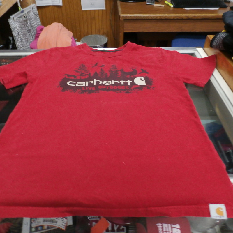Carhartt Boy&#039;s Short Sleeve Shirt Red Size YOUTH Medium (10-12) Cotton #20217<br /> <br /> Rating:   (see below) 3- Good Condition<br /> <br /> Team: n/a<br /> <br /> Player: n/a<br /> <br /> Brand: Carhartt<br /> <br /> Size: Medium (10-12) Boy&#039;s - YOUTH (Measured Flat: Across chest 16&quot;; Length 22.3&quot;)<br /> Measured Flat: arm pit to arm pit; top of shoulder to the bottom hem<br /> <br /> <br /> Color: Red<br /> <br /> Style: short sleeve; screen pressed<br /> <br /> Material: 100% Cotton<br /> Condition: 3- Good Condition -fabric is crisp; slight stretch from wash and wear; there is a light and faint white line through front of shirt (in photos);  minor pilling and fuzz; no rips or tears; (see photos)<br /> <br /> Shipping:FREE<br /> <br /> Item #: 20217