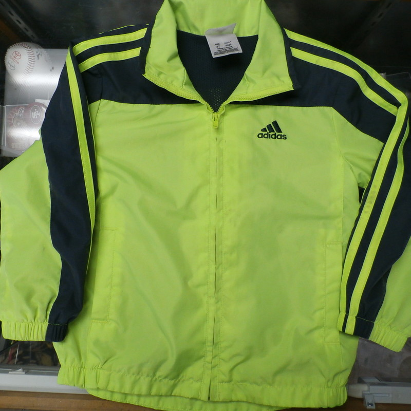 "Adidas Boy's Zip Up Jacket Green Size YOUTH 4T 100% Polyester #19465<br /> Rating:   (see below) 2 - Great Condition<br /> Team: n/a<br /> Player:  n/a<br /> Brand: Adidas<br /> Size : 4T Boy's - Youth (Measured Flat: Chest 14""; Length 18"";) measured armpit to armpit; and shoulder to hem<br /> Color: Green<br /> Style:  long sleeve; embroidery<br /> Material: 100 Polyester<br /> Condition: 2 - Great Condition - slight pilling and fuzz; no snag, rips, tears, or stains; fabric crisp slight stretch from wash and wear; (see photos)<br /> Item #: 19465<br /> Shipping: FREE"