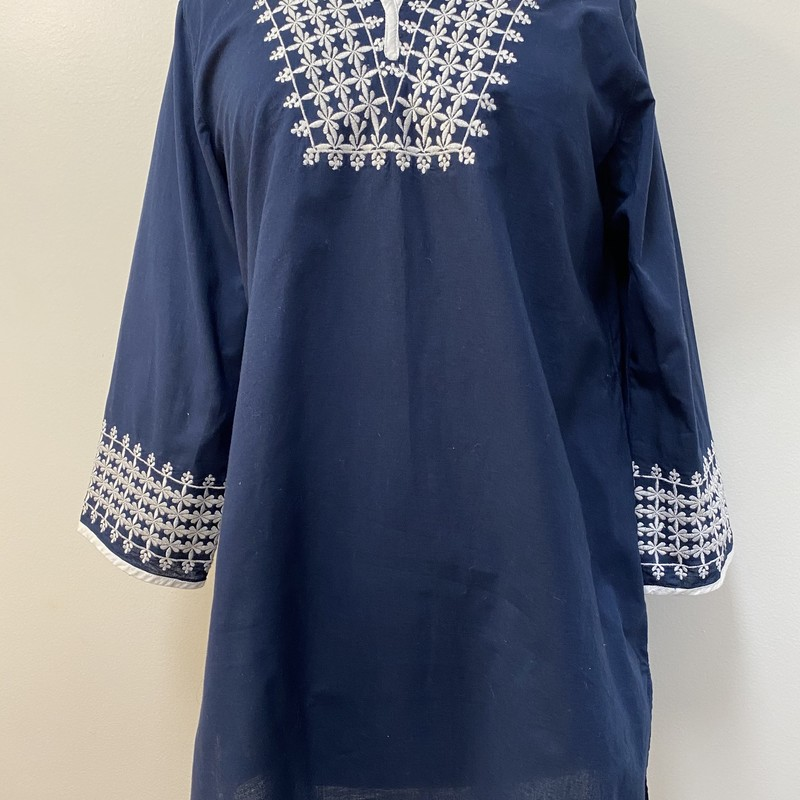 Tulip Floral Tunic Top<br /> Navy/White<br /> Size: Small