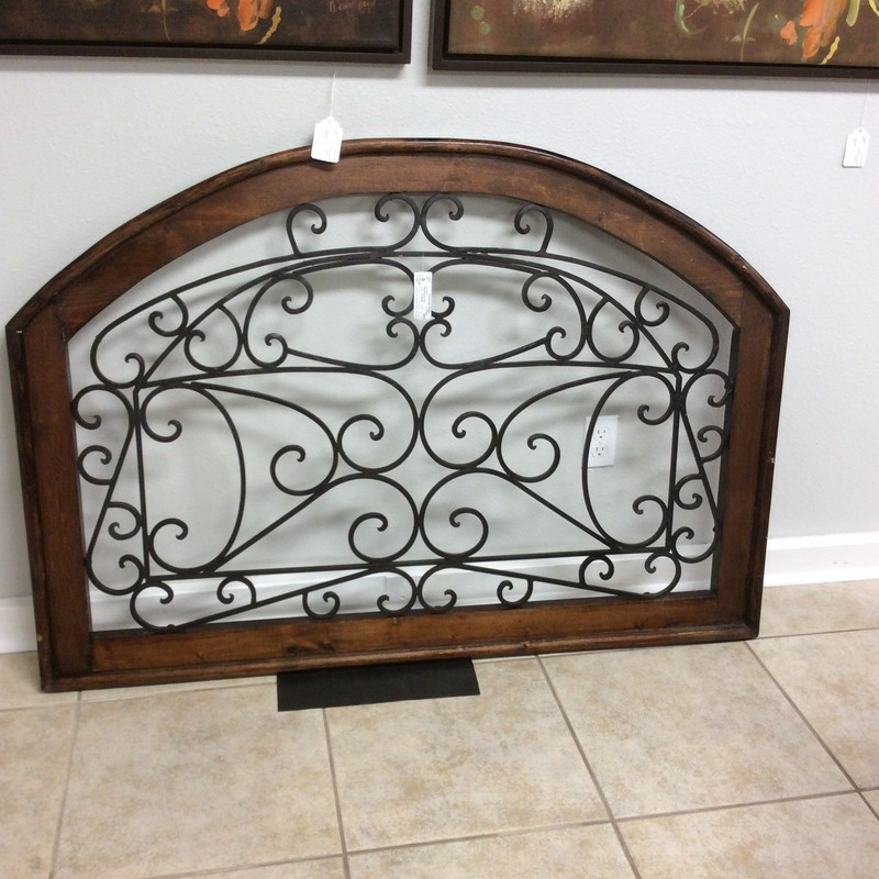 "Think about this piece gracing your wall! Large at 53"" in width, it is a beautiful combination of metal and wood.  Flowing, graceful iron scrollwork framed in distressed wood."