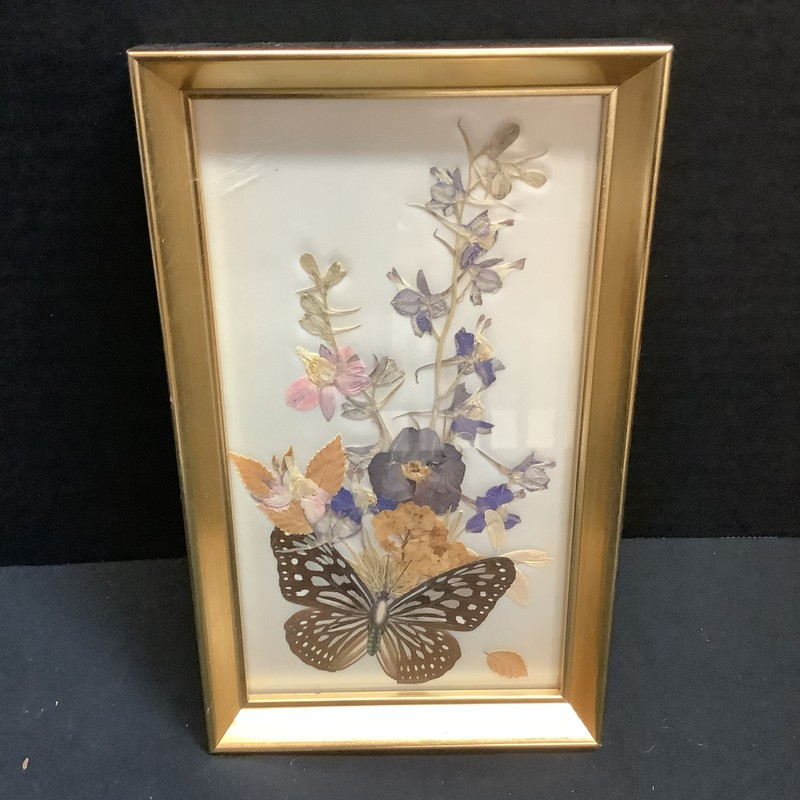 Butterfly floral collage<br /> Larkspur pansy<br /> By Mildred Roberts<br /> Original collage of natural flowers