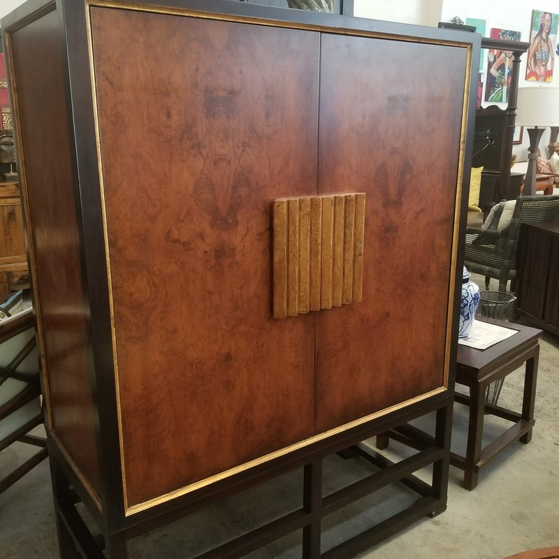 One of a kind Asian Media Cabinet.  Pretty gilded border around the cabinet makes it pop.  Beautiful burl venier.