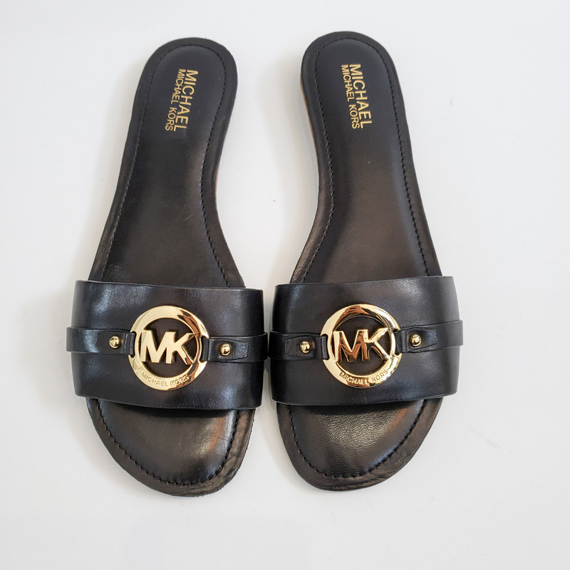 Michael Kors<br /> Slide Sandal<br /> Black and Gold<br /> NEW in box<br /> Size 10