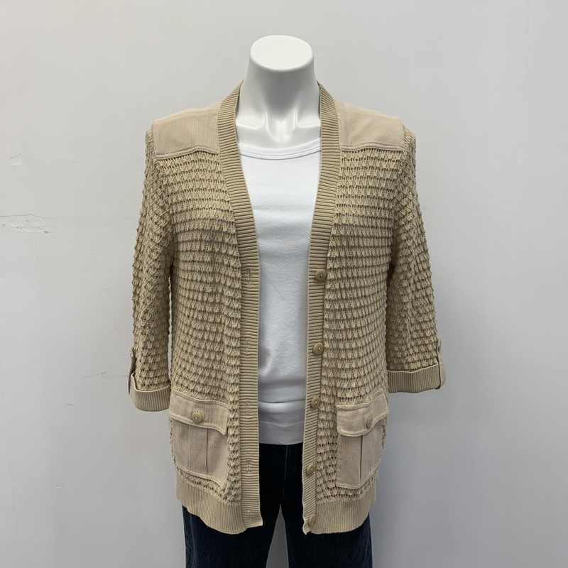 Drapers & Damons Cardigan, Solid, Size: MPT Tn<br /> <br /> Crochet Knit:  100% Cotton<br /> Woven:  65% Cotton/35% Polyester<br /> <br /> Nice Draper's&Damons button down cardigan with with two front pockets.  Accent buttons on each sleeve.  Perfect grab and go for cooler nights or indoors.  Add it to your cart now!