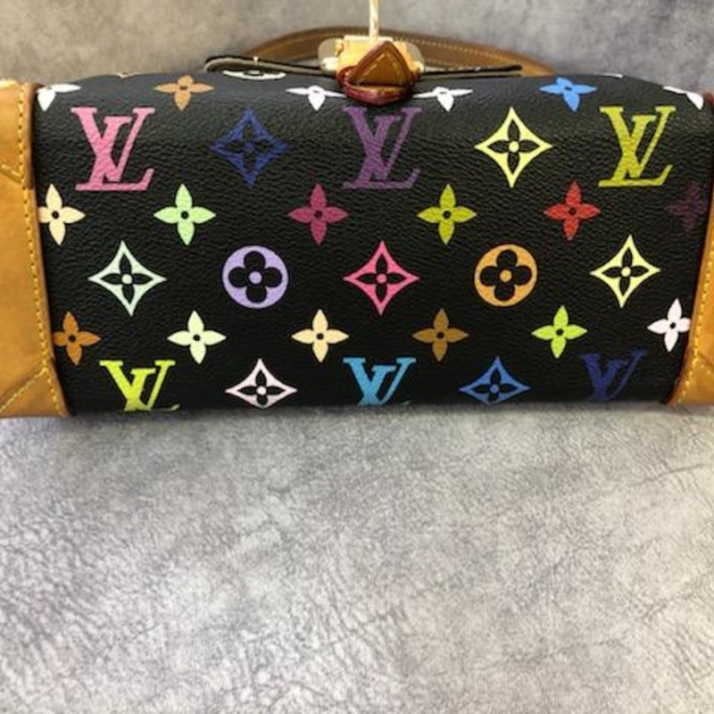 "Louis Vuitton, BlkMulti, Size: Authentic<br /> Louis Vuitton Eliza<br /> Featured snippet from the web:<br /> Product Information.: Named after Audrey Hepburn's character from the classic 'My Fair Lady', the Louis Vuitton Eliza is just as witty and sophisticated. Crafted from Takashi Murakami's youthful multicolour monogram canvas, this bag features a front pocket, vachetta leather trim, a zip closure and gold hardware.<br /> Original Retail Price: US $1,050<br /> Measurements:<br /> 10.6""L x 4.3""W x 5.5""H<br /> Louis Vuitton Authenticity Code:  TH0036<br /> This bag is in good condition with normal wear.  The leather is good with the tanning beginning to take place due to being carried and used."