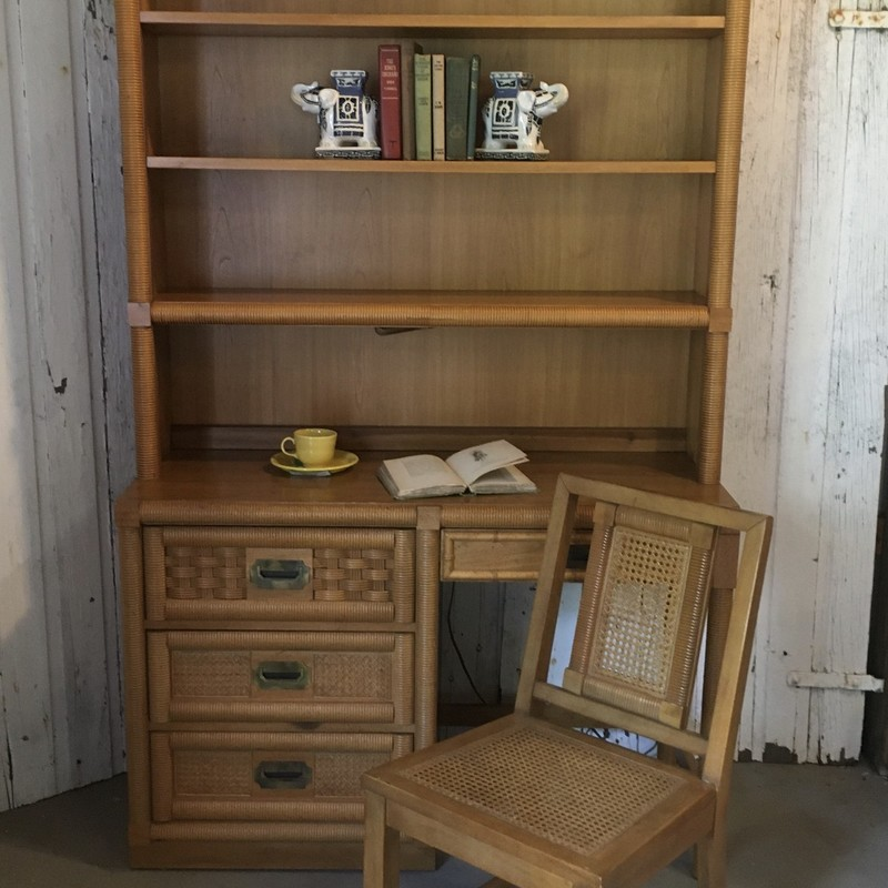 "Desk/hutch/ chair Dixie Wicker Weave<br /> desk 46L x 30H x 18W<br /> Desk with hutch top 75"" High<br /> Great Shape!<br /> Price includes 7% Sales Tax<br /> Item is for pickup only.<br /> No shipping"