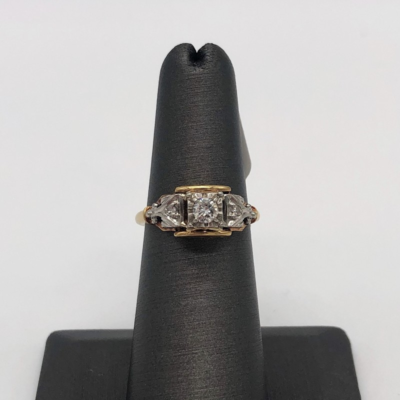14k 0.15ct Vintage Ring, None, Size: KIH