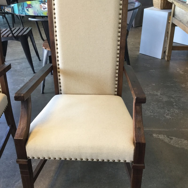 "World Market Chair, Cream Upholstery, Nailhead Details, Wood Frame, 2 Available, Size: 22""X20""X42"""
