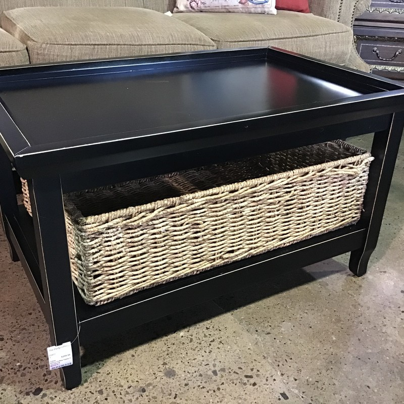 "This beautiful Ballard coffee table goes from traditional to contemporary with a stylish, casual flair.   Comes complete with a basket for the lower shelf measuring 26"" x 18"" x 8"" to store all kinds of things.<br /> <br /> Coffee Table features:<br /> Expansive recessed top<br /> Factory distressed<br /> Bracket feet<br /> Crafted of poplar and birch veneers<br /> <br /> Table Dimensions:<br /> 33"" x 22"" x 19"""