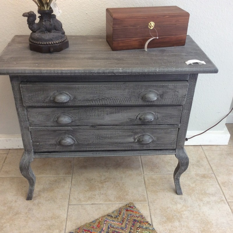 Another fabulous CUSTOM piece by Greg Watson, our friendly carpenter-consignor. This chest is solid pine and has a shabby, painted gray finish. There are 3 drawers, each with sliders mounted on both sides. The curved legs are darling, too!