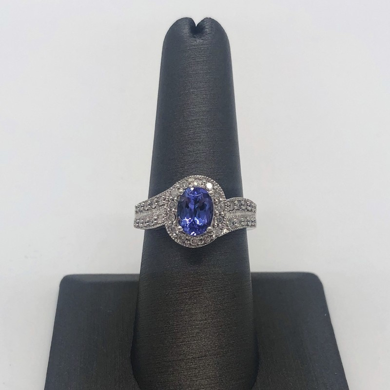 14K White oldG 1.15carat Tanzanite  0.42 Diamond in wrap setting<br /> <br /> #tanzanite #whitegold #birthstone #blue #jewelry #ring