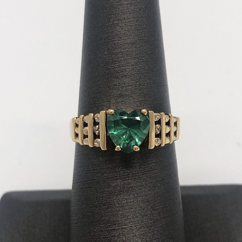 10K Syn Emerald Ring, None, Size: KI