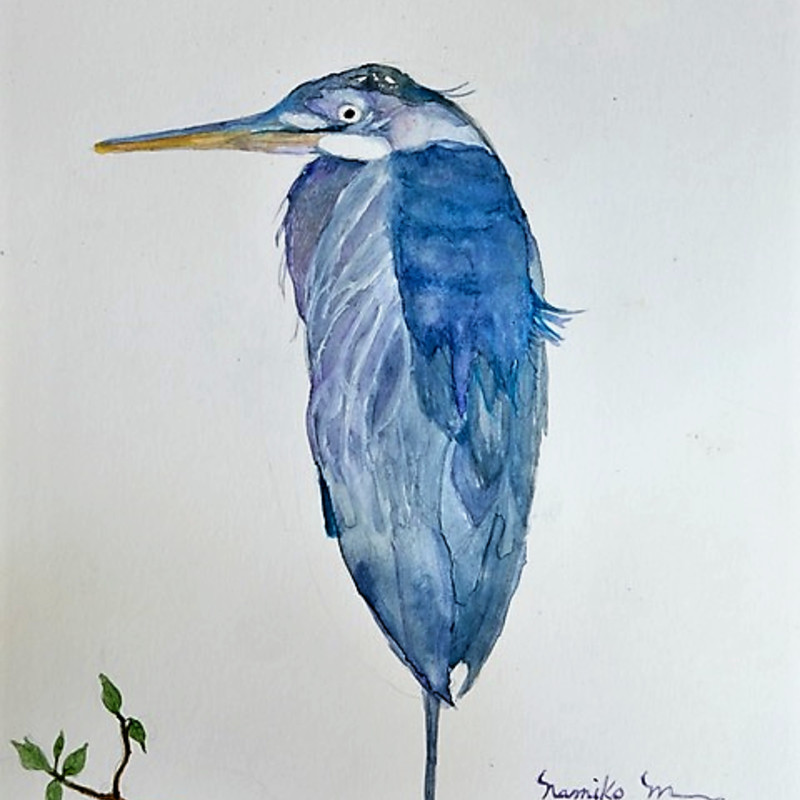 "Title: Sending Me a Message, Artist:  Namiko Mahony,  Medium: Watercolor, Size: 8 x 10"",  Statement:  According to North American Native Tradition, The Blue Heron brings message of self determination and self reliance.  They represent an ability to progress and evolve... Every year the Blue Heron stops by stay on back yard fence.  I always feel lucky when I'm able to capture it with my camera. This one is beautiful, strong, and graceful, Hoping I will be able to see and welcome every year."
